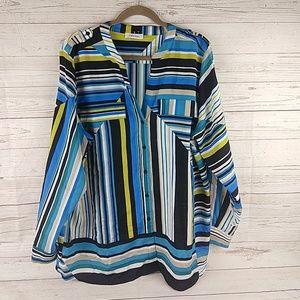 Calvin Klein striped button tunic 1X